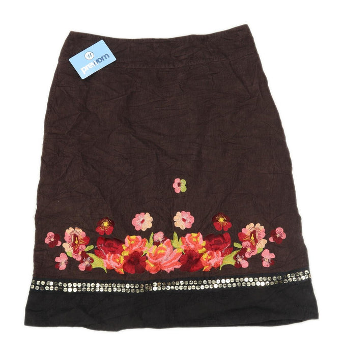 Monsoon Womens Size 12 Corduroy Floral Brown Skirt (Regular)
