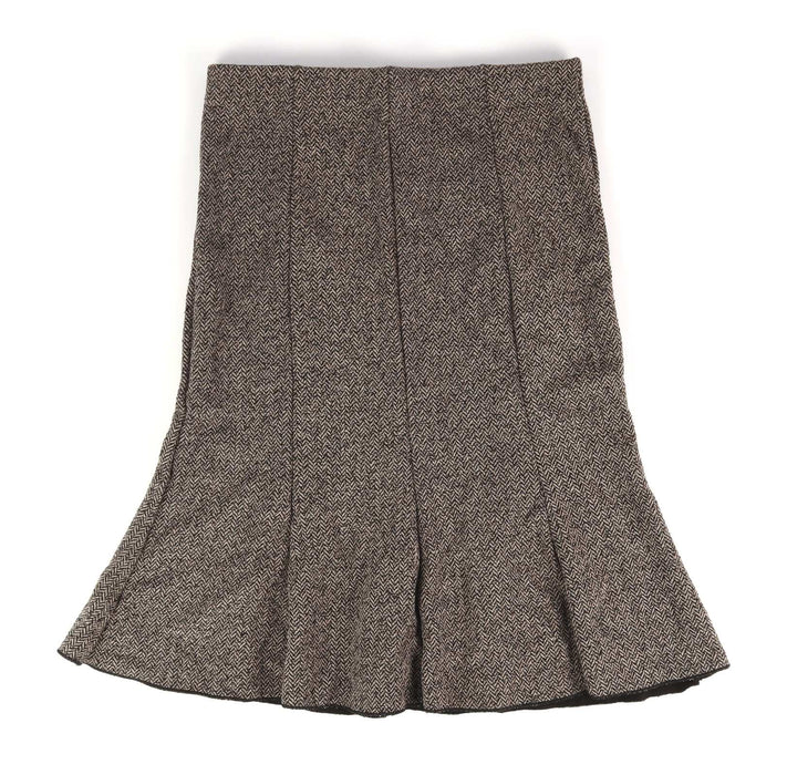 Logo Womens Size 10 Grey Herringbone Skirt (Regular)