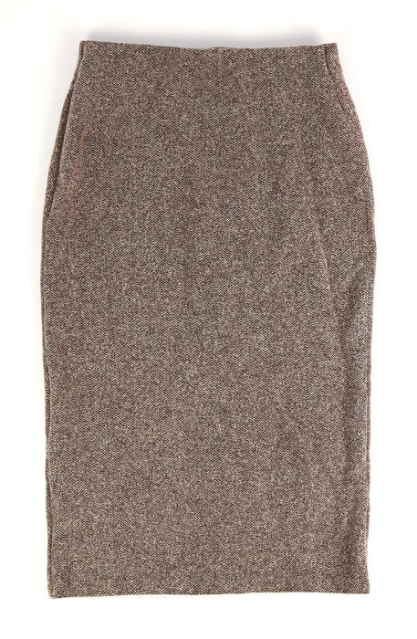 Marks & Spencer Womens Size 8 Beige Herringbone Skirt (Regular)