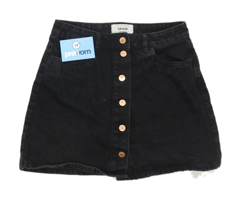 New Look Womens Size 10 Denim Black Skirt (Petite)