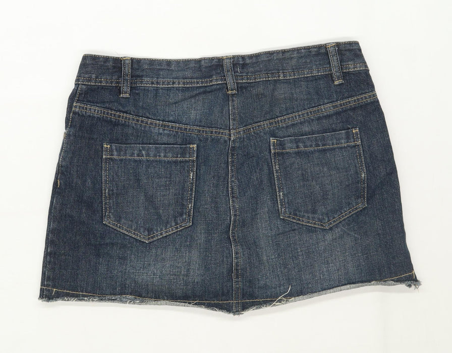 F&F Womens Size 12 Denim Blue Skirt (Regular)