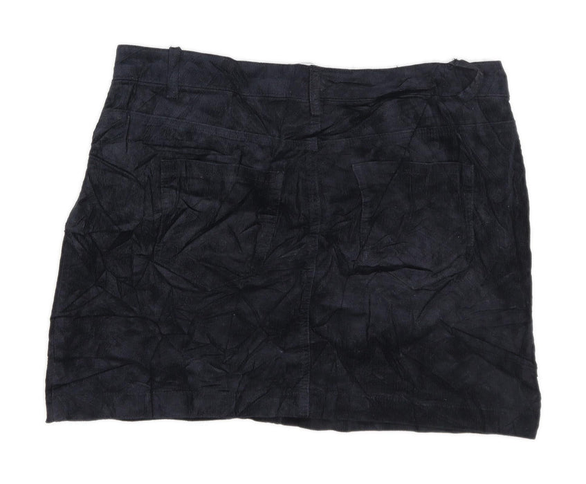 Glassons Womens Size 14 Corduroy Textured Black Skirt (Regular)