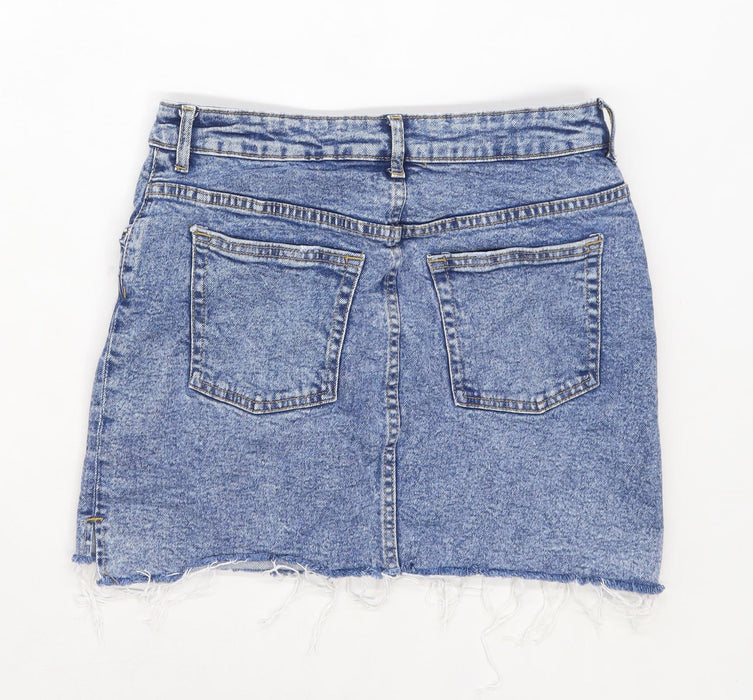 H&M Womens Size 8 Denim Blue Skirt (Regular)