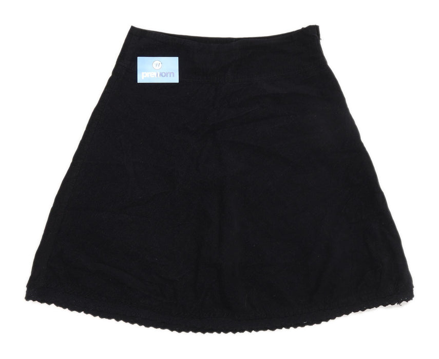 H&M Womens Size 12 Corduroy Textured Black Skirt (Regular)