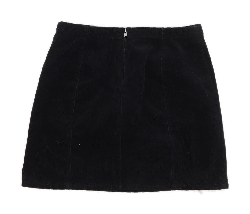 Forever 21 Womens Size M Corduroy Textured Black A-Line Skirt (Regular)