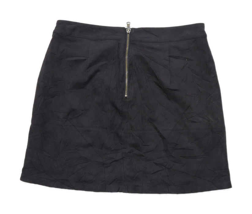 New Look Womens Size 10 Black Suede Skirt (Regular)