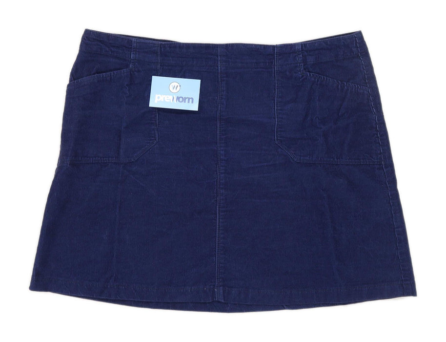 F&F Womens Size 20 Corduroy Textured Blue Skirt (Regular)