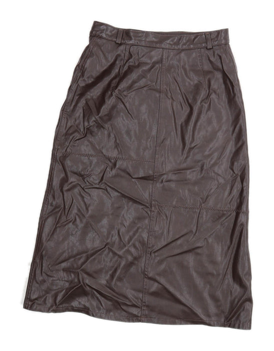 Marks & Spencer Womens Size 10 Polyurethane Brown Faux leather Pencil Skirt (Regular)