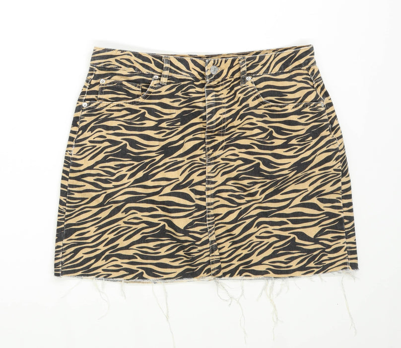 Denim Co Womens Size 14 Denim Animal Print Black Skirt (Regular)