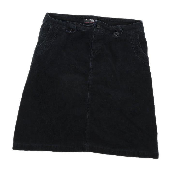New Look Womens Size 12 Corduroy Black A-Line Skirt (Regular)