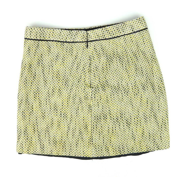 Banana Republic Womens Size 6 Yellow Textured Cotton Blend Skirt (Regular)