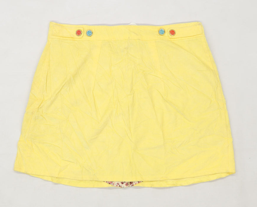 Jam Womens Size L Cotton Textured Yellow Skirt (Regular)