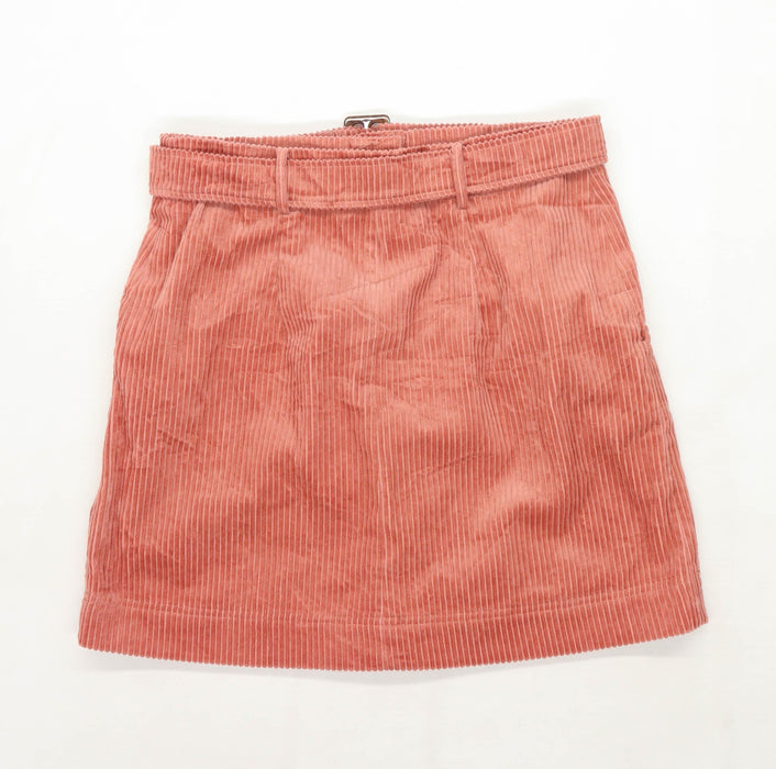 Marks & Spencer Womens Size 14 Corduroy Blend Textured Pink Skirt (Regular)