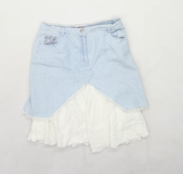 Marks & Spencer Womens Size 8 Denim Blue Skirt (Regular)
