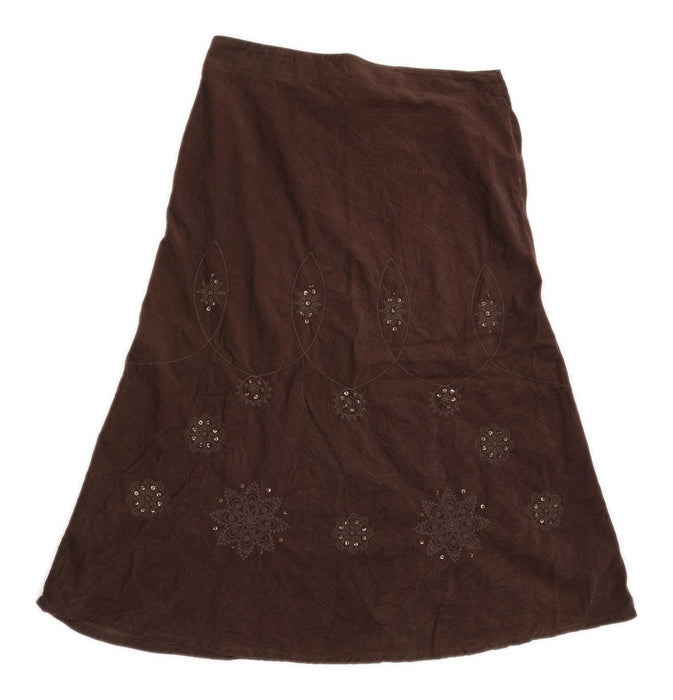 George Womens Size 14 Cotton Textured Brown Skirt (Regular)