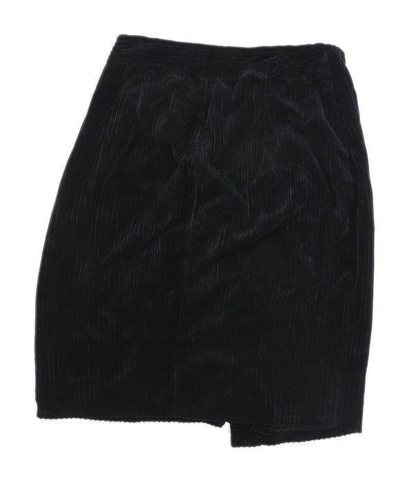 Bershka Womens Size M Corduroy Black Skirt (Regular)