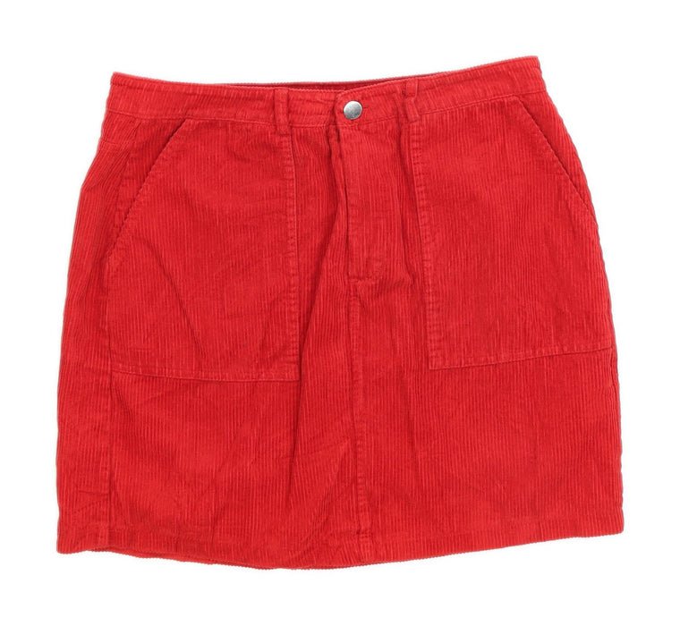 New Look Womens Size 12 Corduroy Red Skirt (Regular)