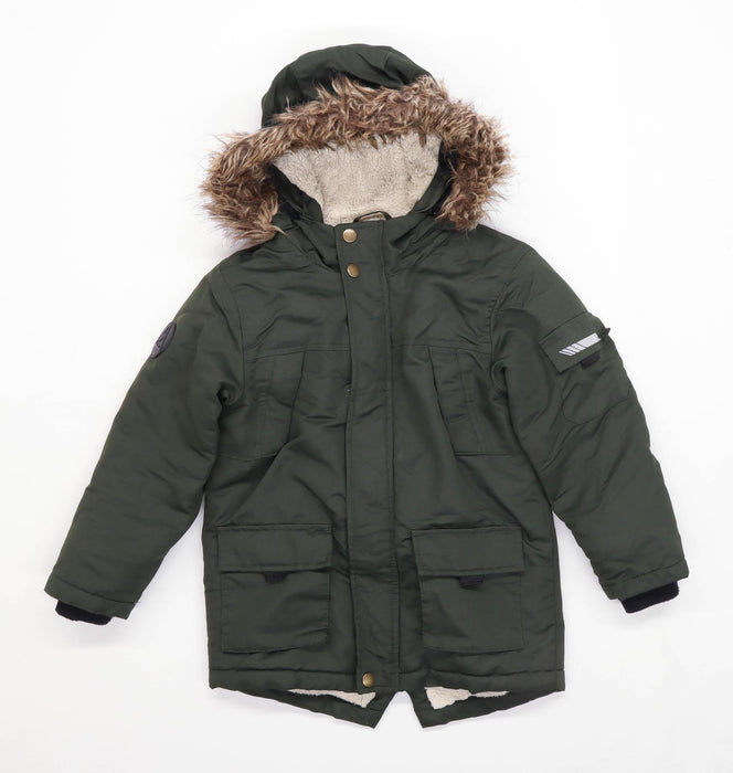 Primark Boys Green Poppers Faux Fur Coat Age 5-6 Years