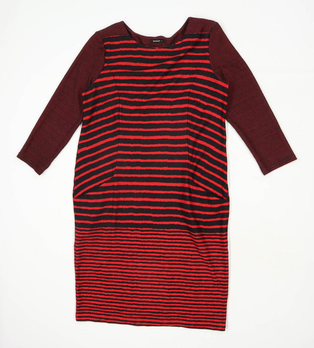 Roman Womens Size 12 Striped Black Dress (Regular)