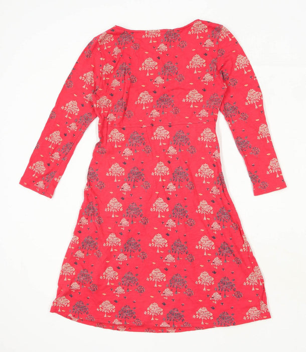 White Stuff Womens Size 10 Floral Cotton Blend Red Skater Dress (Regular)
