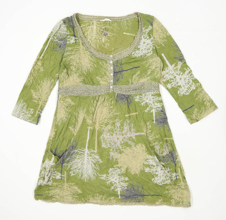 White Stuff Womens Size 16 Floral Cotton Green Dress (Regular)