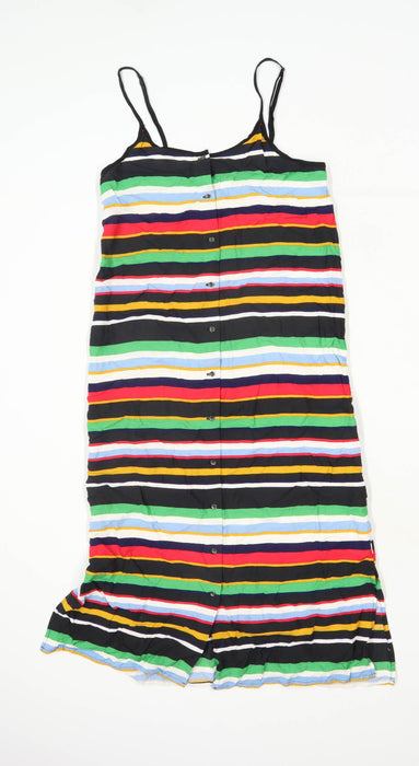 Vans Womens Size S Striped Cotton Strappy Multi-Coloured Shirt Dress (Regular)