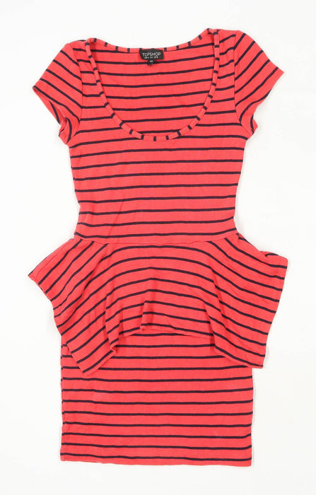 Topshop Womens Size 10 Striped Cotton Red Bodycon Dress (Regular)