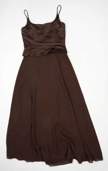 Rachel Kyle Womens Size 8 Textured Strappy Brown Sequined Maxi Dress (Regular)