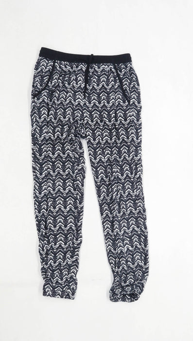 H&M Girls Striped Black Trousers Age 10-11 Years