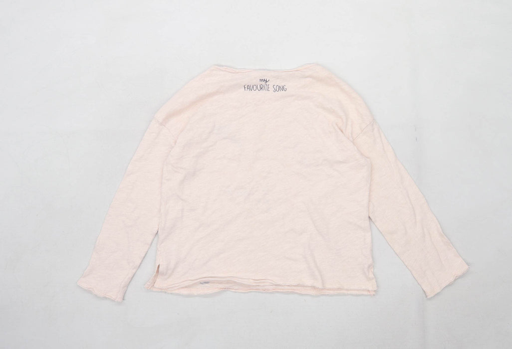 Zara Girls Graphic Pink Top Age 9-10 Years