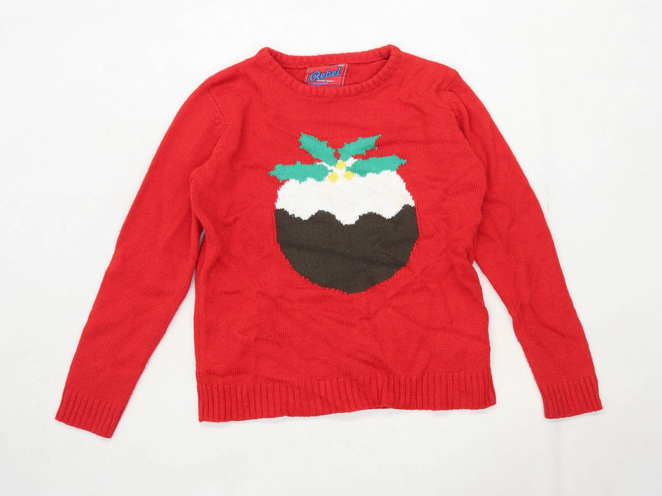 Rebel Boys Graphic Red Christmas Pudding Jumper Age 12-13 Years