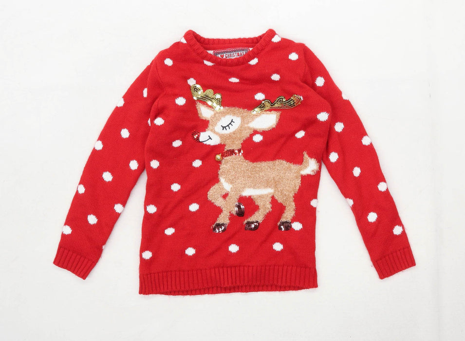 Young Dimension Girls Graphic Red Christmas Reindeer Jumper Age 8-9 Years