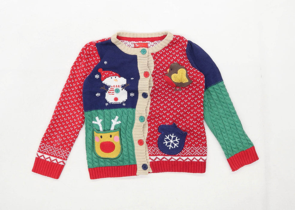 TU Girls Graphic Multi-Coloured Christmas Cardigan Age 3-4 Years