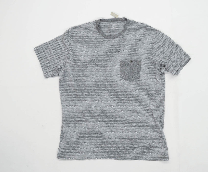 TU Mens Size L Cotton Blend Striped Grey T-Shirt