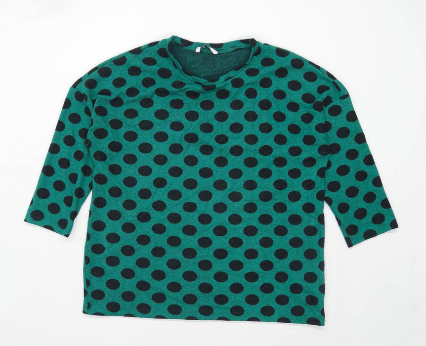 TU Womens Size 14 Spotted Cotton Blend Green Jumper (Regular)