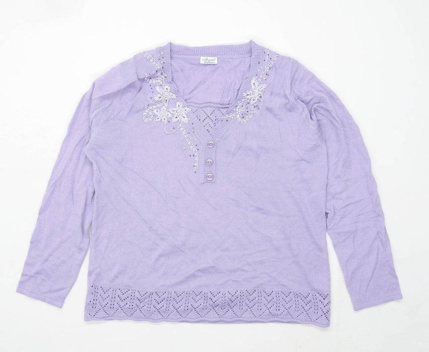 Speical Collection Womens Size 16 Floral Purple Jumper (Regular)