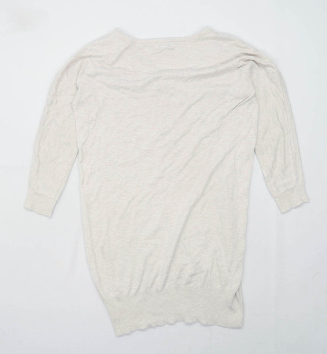Reiss Womens Size M Cotton Blend Beige Jumper (Regular)