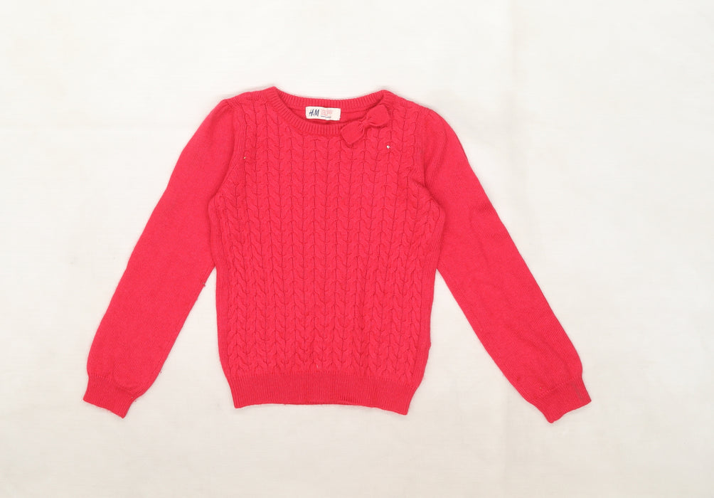H&M Girls Pink   Pullover Jumper Size 5-6 Years