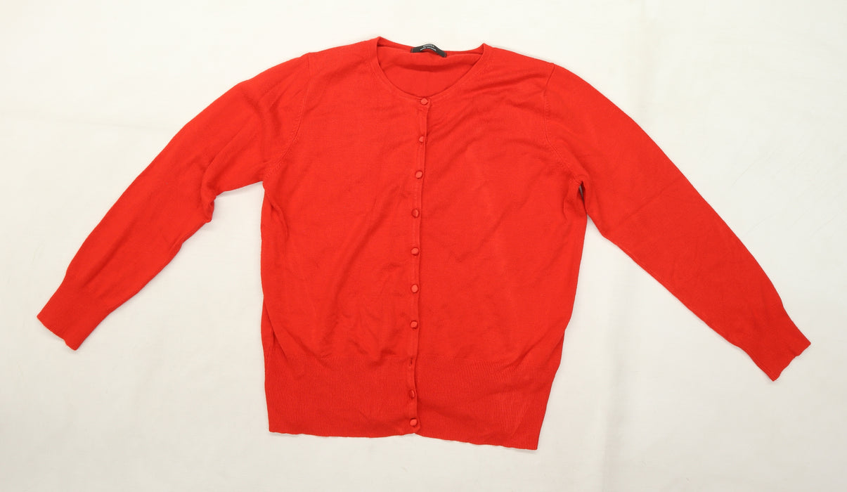 Marks and Spencer Womens Red  Knit Cardigan Jumper Size 16