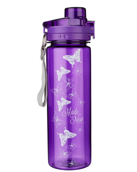 MADE NEW IN CHRIST IN PURPLE - 2 CORINTHIANS 5:17 Water Bottle