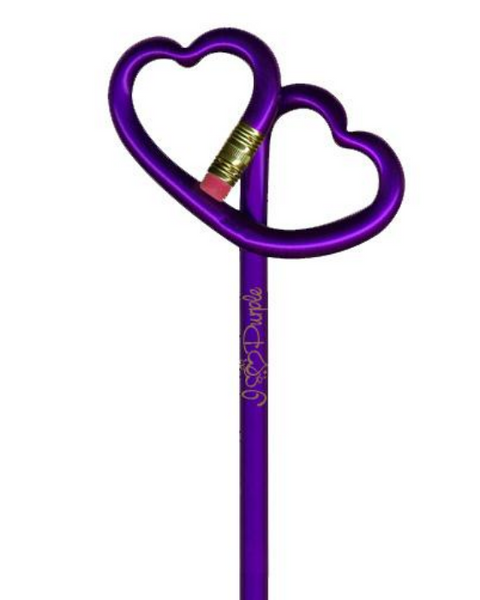 I Love Purple Double Heart Pencil