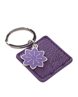 """Faith"" Faux Leather Key Ring With Flower Charm"
