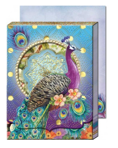 Purple Peacock Die-Cut Window Pocket Note Pad