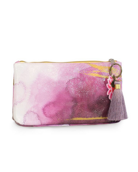 Plum Watercolor Small Tassel Clutch