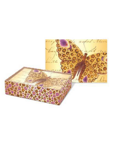 Gold and Purple Foil Butterfly Note Cards