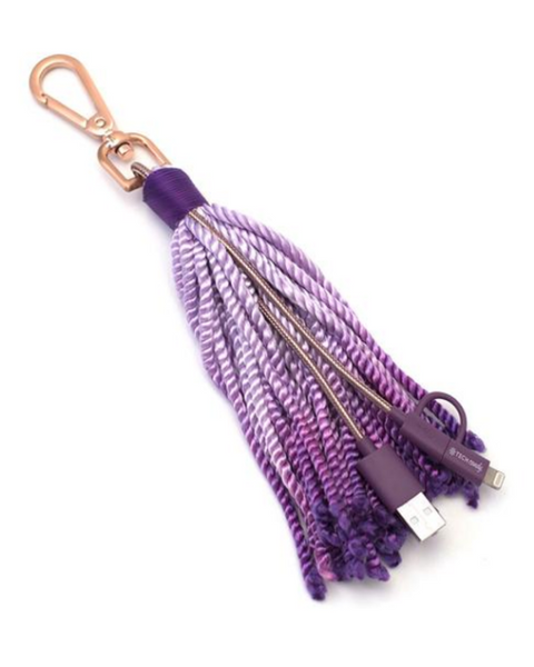 The Fringe Benefit Purple Woven USB Cable + Tassel