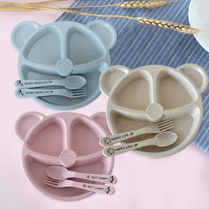 Wheat Straw Training Plate With Spoon And Fork Set