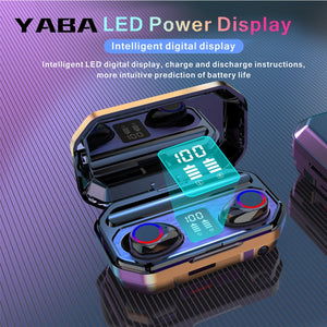YABA 3500mAh Bluetooth Wireless Earphones Headphones Touch Control LED With Microphone Sport Waterproof