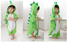 Load image into Gallery viewer, Hooded Dinosaur Ponchos / Hooded Childrens bath towel