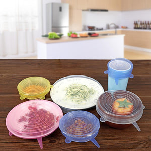 6 Pcs Silicone Stretch Lids - Reusable Airtight Food Wrap